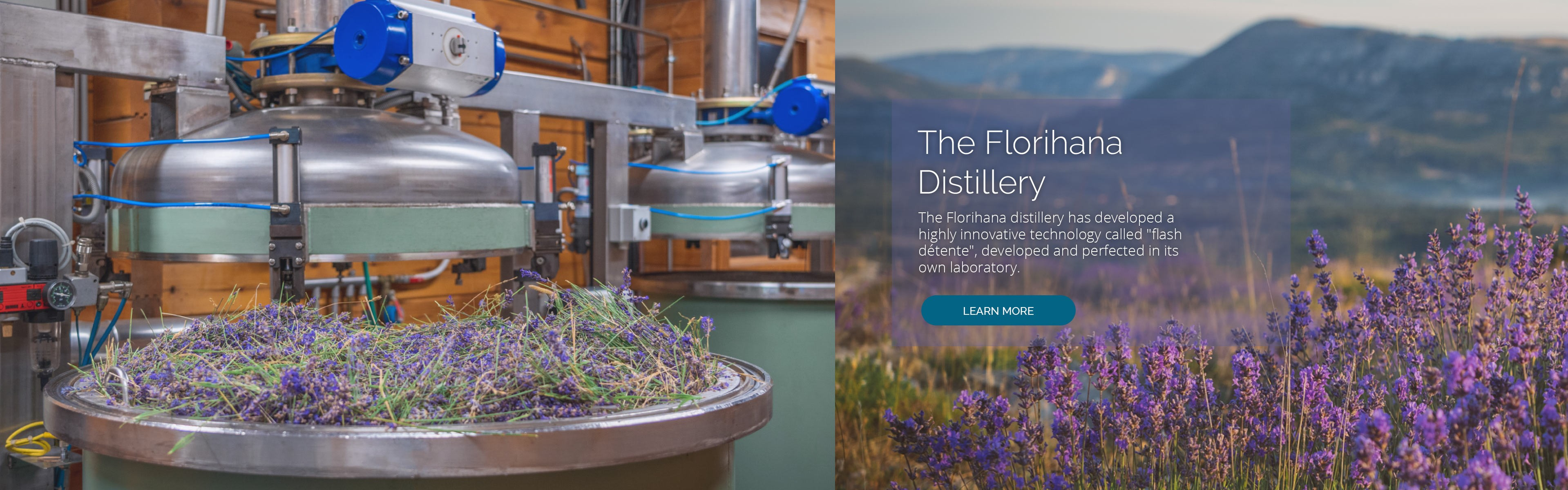 """The Florihana distillery has developed a highly innovative technology called """"flash détente"""", developed and perfected in its own laboratory."""